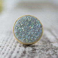 Gold White Titanium Druzy Ring - Round Stone Ring - Adjustable