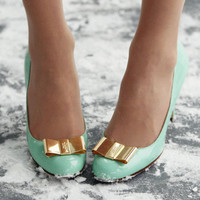 Kate Spade mint &amp; gold heels