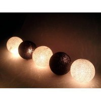 Amazon.com: I Love Handicraft Black and White Cotton Ball String Lights Patio Wedding and Party Decoration (20 Balls/set): Everything Else