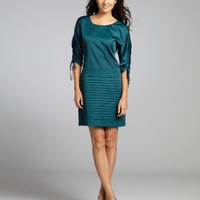 Phoebe Couture teal corseted three-quarter sleeve cocktail dress | BLUEFLY up to 70 off designer brands