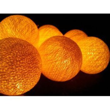 I Love Handicraft Yellow Cotton Ball String Lights Patio Wedding and Party Decoration (20 Balls/set)