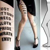 SMALL/MEDIUM sexy 7 Deadly Sins tattoo tights / stockings/ full length / pantyhose / nylons Light Mocha