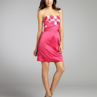 Phoebe Couture magenta silk blend flower applique strapless party dress | BLUEFLY up to 70 off designer brands