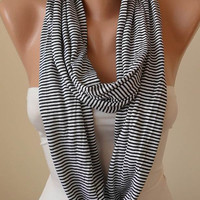 Black - Thin Striped Infinty Scarf  - Circle -  Loop Scarf - Combed Cotton Fabric