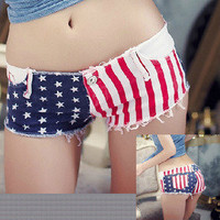 Fashionwoman — fashion Low-waist denim flag shorts