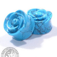 Carved Rose Turquoise Plugs