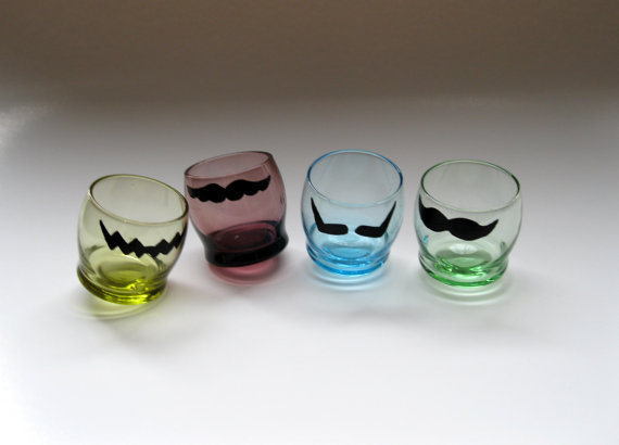 Mustache Shot Glasses Hand Painted Mario Wario by BasementInvaders