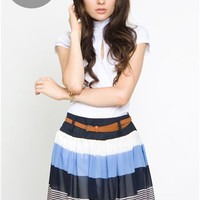Beautiful summer blue skirt with leather belt