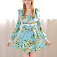 Blue flower print flounced waist bow dress put on a large_Cute dresses_Dresses_Mili fashion Trade Co.Ltd