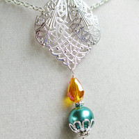 Teal Glass Pearl & Orange Crystal Fancy Silver Filigree Necklace
