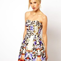 ASOS Premium Bandeau Mirror Floral Skater Dress at asos.com