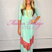 3/4 Sleeve Mint and Pink Lace Maxi Dress - Modern Vintage Boutique