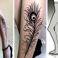 s/m sexy PEACOCK FEATHER tattoo tights / stockings / full length / pantyhose / nylons WHITE