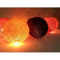 Amazon.com: I Love Handicraft Orange Red and Black Color Set Cotton Ball String Lights Patio Wedding and Party Decoration (20 Balls/set): Everything Else