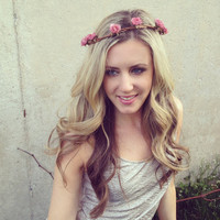 COACHELLA Goddess Hair Wreathes- Dark Pink Blossoms HEADBANDS- Hair Crown- Flower Crowns TRENDY