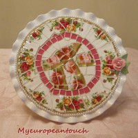 Pedestal Mosaic Cake Plate Handmade Mosaic Cake Plate Royal Albert China Plate Rimsl on Handmade Artists&#x27; Shop