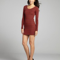 RD Style brick and black stripe cotton jersey long sleeve t-shirt dress | BLUEFLY up to 70 off designer brands