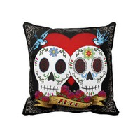 Love Skulls Throw Pillow from Zazzle.com