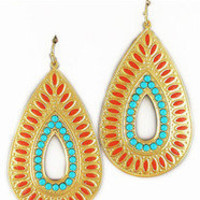 Turquoise and Coral Tribal Earrings â?? Modeets
