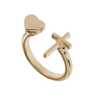 Cross and heart split ring