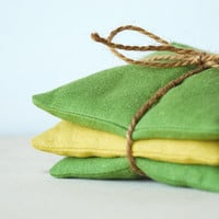 Organic Lavender Sachets Olive and Saffron Linen Botanical Gift Set