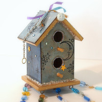Celestial Birdhouse Suncatcher Beaded Mixed Media by rrizzart