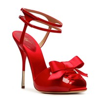 Shop  Giuseppe Zanotti Patent Leather Bow Sandal Larger View