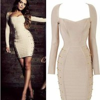 Amazon.com: Women's Long Sleeve Studded Bandage Pencil Dress Celebrity Cocktail Evening Dress (Medium): Beauty