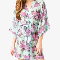 Cabbage Rose Print Sleep Robe | FOREVER 21 - 2034706014