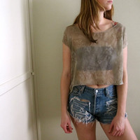 See Through Beige Crop Top Tunic