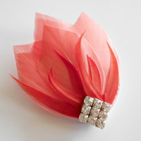 Art Deco Bridesmaid Head Piece Great Gatsby Roaring 20s Hairpiece Wedding Hair Accessories Wedding Hair Piece Coral Tangerine