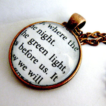 The Great Gatsby Quotes Book Page Necklace Green Light Orgastic Future