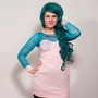 Light Pink and Aqua Mermaid Dress MADE TO ORDER