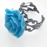 Blue Rose Cocktail Ring, Bridesmaid Ring, Ladies Statement Ring, Vintage Look Filigree Ring
