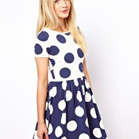 ASOS Skater Dress In Reverse Spot Print at asos.com