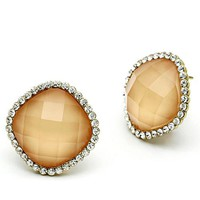 Resin & Crystal Stud Earrings - 06626