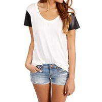 Black/White Faux Leather Sleeves Top