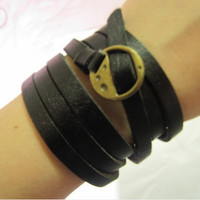 Women Black Leather Bracelet and Bronze Alloy by braceletcool