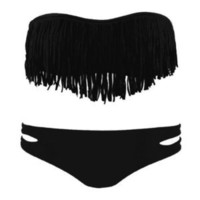 Hi,Showme  2 PCS Black Bikini Fringe Bandeau Top and Bottom Set