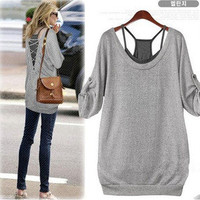 Hi,Showme — 2 PCS Gray Shirt and Black Tanks