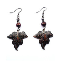 Brown Bronze Leaf Earrings - Upcycled jewellery