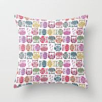 stamped sherbert owls Throw Pillow by Sharon Turner