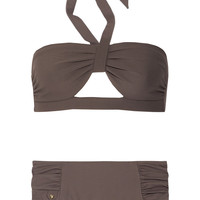 Chloé Cutout piqué halterneck bikini – 55% at THE OUTNET.COM