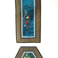 Vintage 1970s chinese silk embroidery bird placemats wall hanging