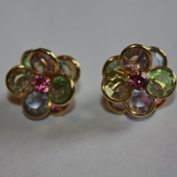 Vintage Earrings Crystal Bezel Set Flowers 1970s  Jewelry Pastel