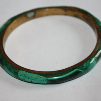 Vintage Bangle Bracelet Malachite 1960s  Jewelry