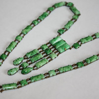 Art Deco Necklace Openback Green Mottled Glass Sautoir Bib 1920s Jewelry