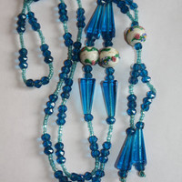 Art Deco Aqua Sautoir Necklace Wedding Cake Glass Bead 1920s Jewelry