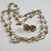 Swarovski Crystal Necklace Bezel Set Pastel 1970s Jewelry With Earrings
