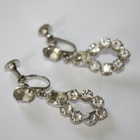 Vintage Earrings Tear Drop Rhinestone 1950s Jewelry